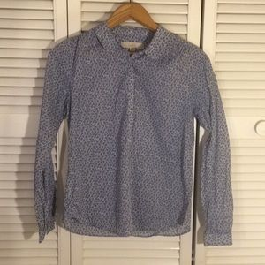 LOFT Blue Floral Button Front Shirt